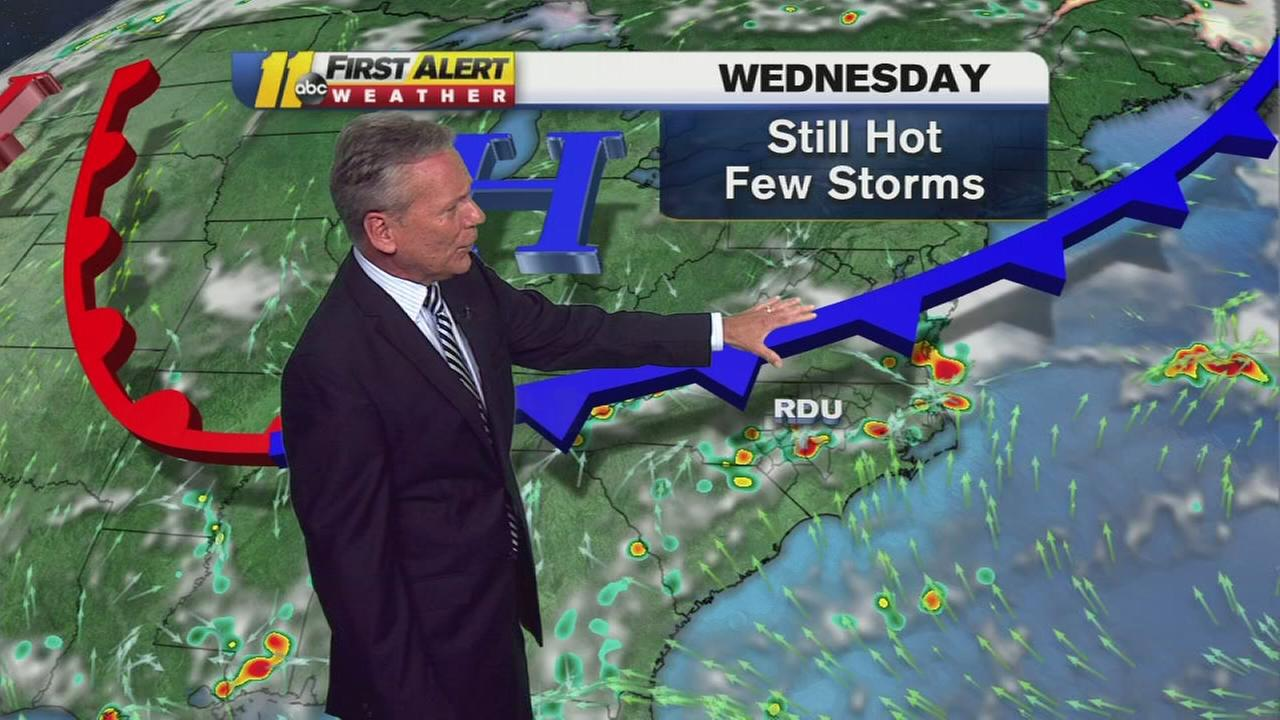 Heat continues Wednesday with chance of storms