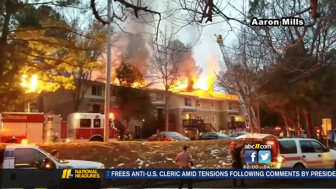 Dozens displaced after large apartment fire in Carrboro