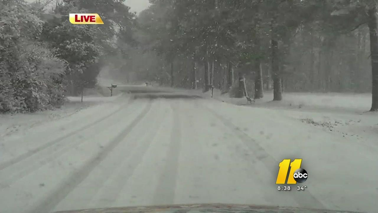 Wintry road conditions around the area