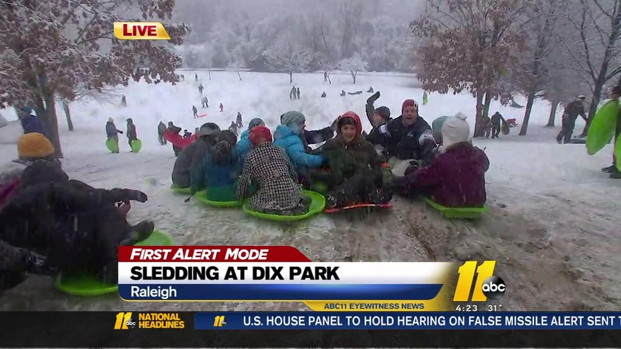 Sledding at Dix Park