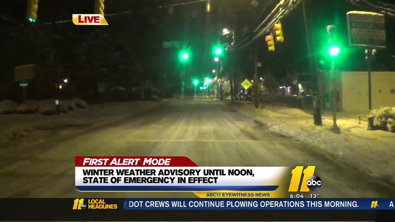 A look at wintry road conditions around the area