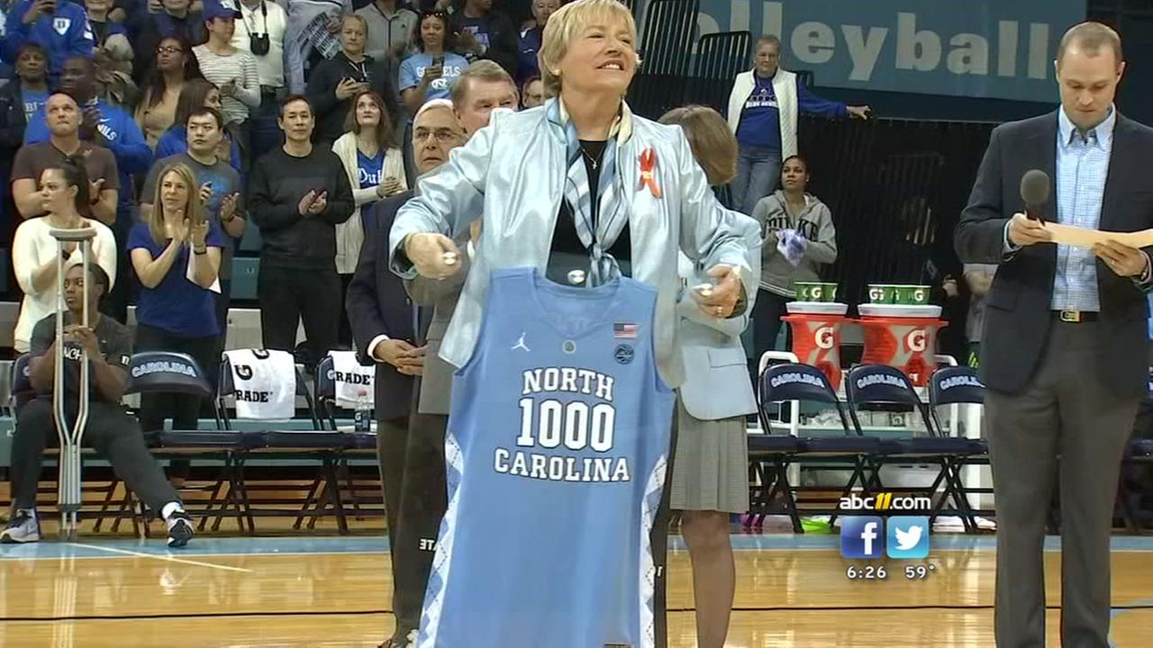 UNC coach star Sylvia Hatchell honored for 1,000th win