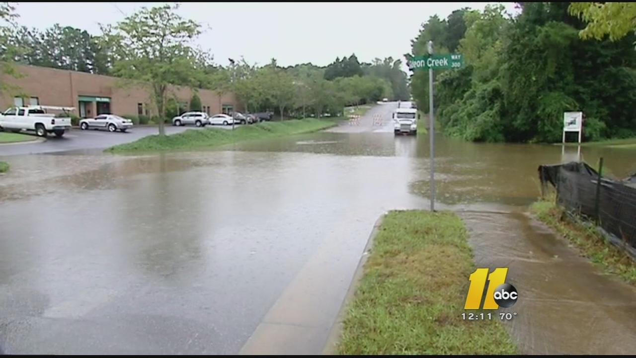 The flooding blocked the entrance to a dialysis center