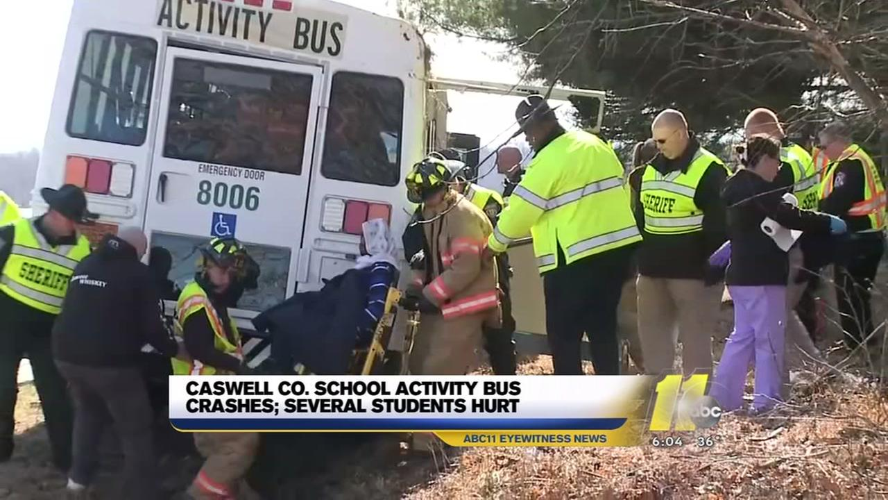 Students hurt in Caswell County activity bus crash
