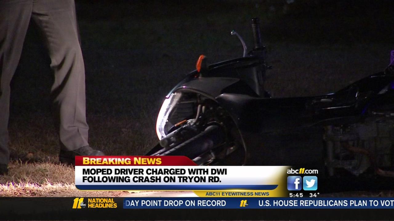 Raleigh man charged with DWI after crashing moped