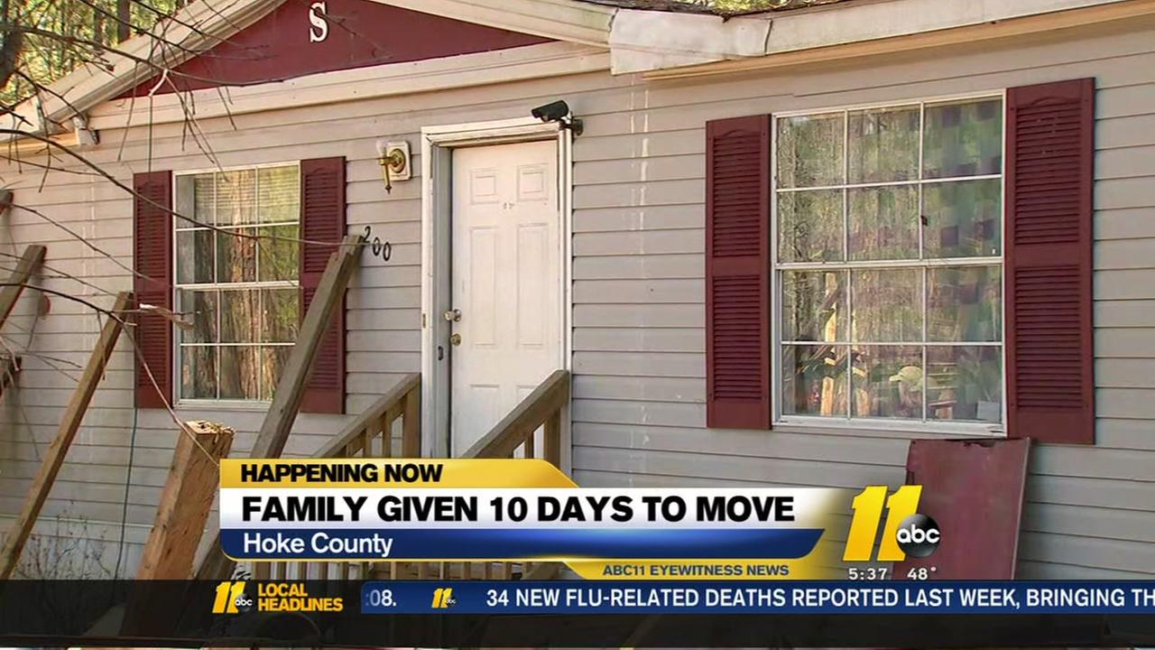 Hoke County family given 10 days to move