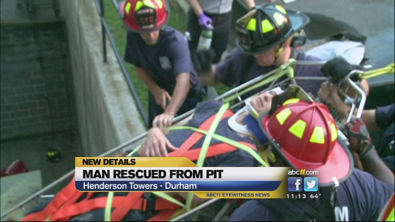 Man rescued after fall into concrete pit