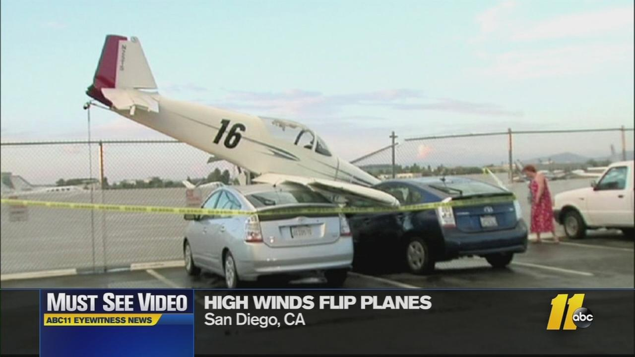 The  wind sent planes crashing into cars