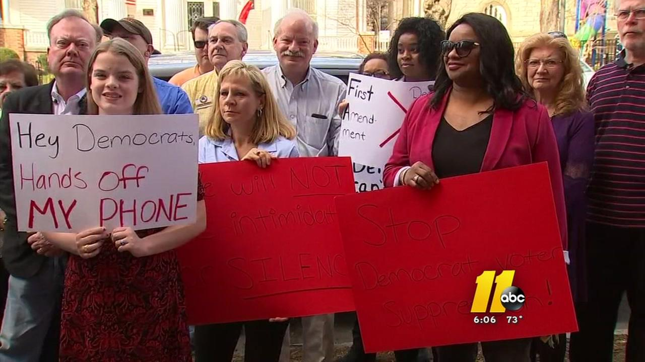 Wake County Republicans protesting outside NC Democratic Party Headquarters
