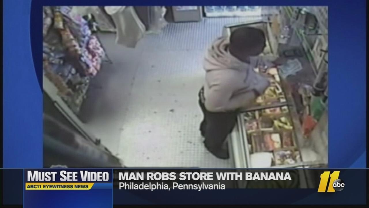 Police say the man used a banana in his pocket to rob a store