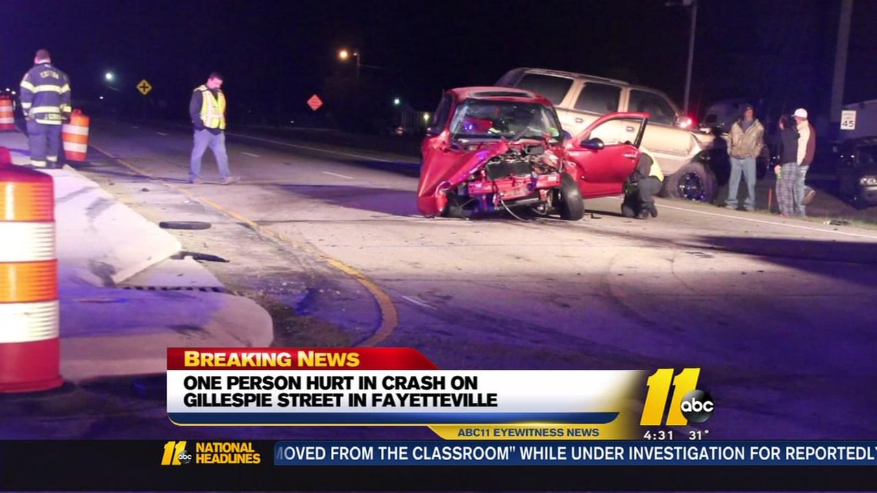 One injured in multi-vehicle crash on Gillespie Street in Fayetteville
