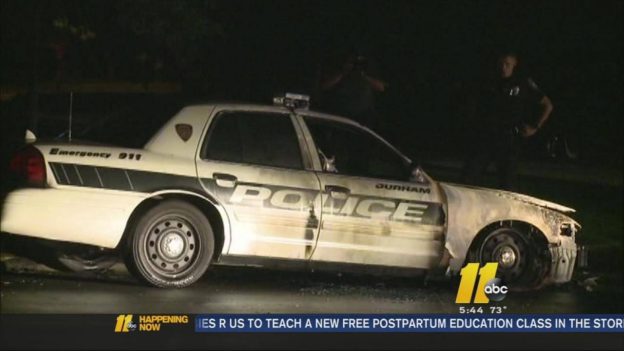 Neighbors on edge after Durham police cruiser set on fire