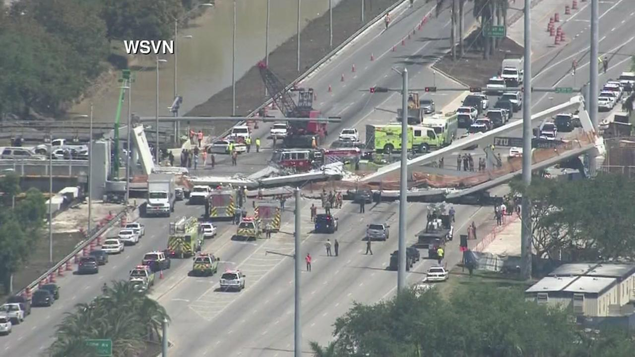 Pedestrian bridge collapses at university in Miami