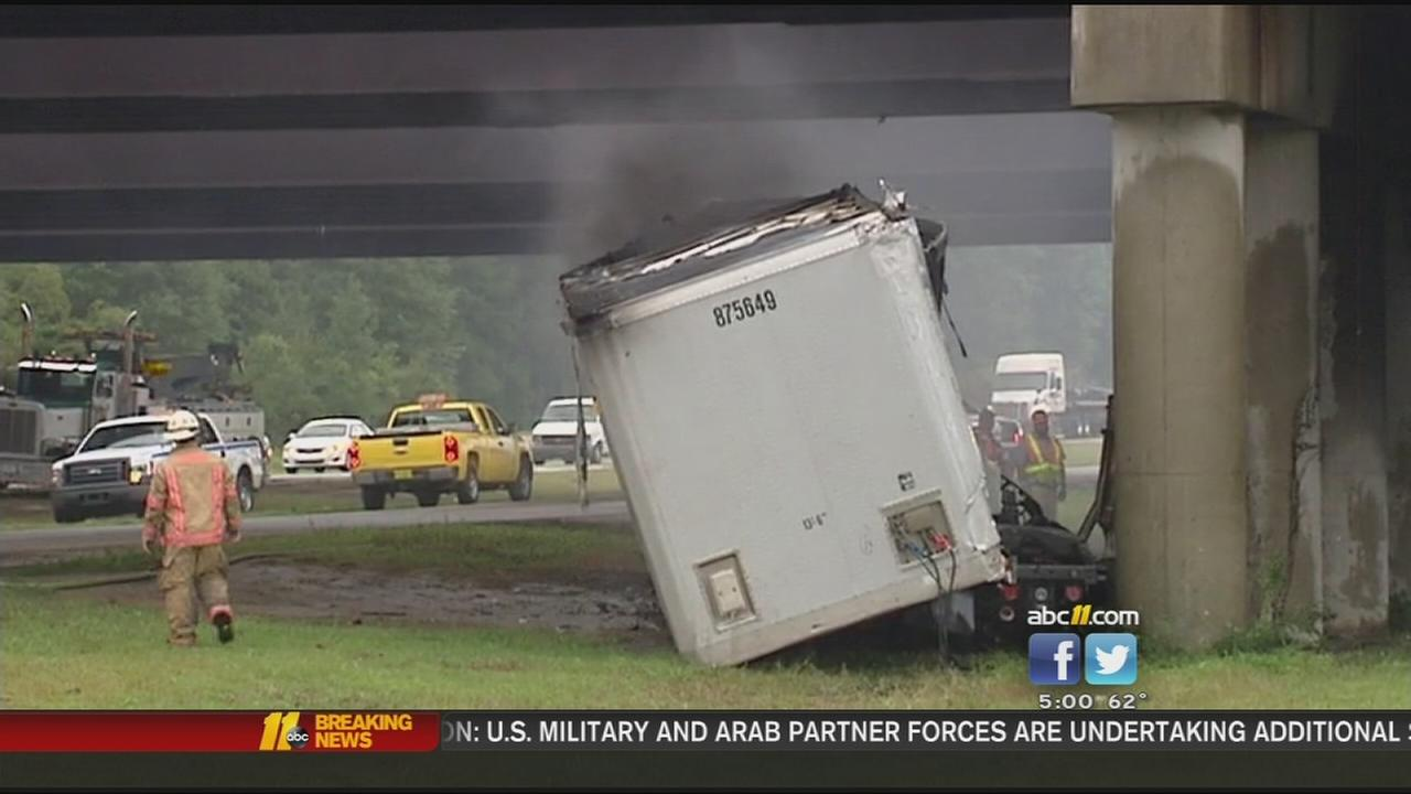 I-95 shut down by truck crash and fire near Fayetteville