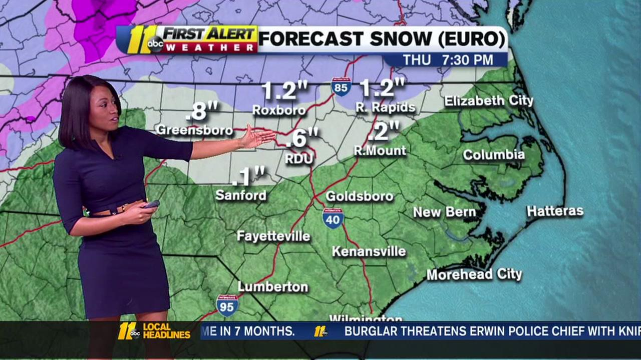 Snowfall stays north, light accumulation for Triangle