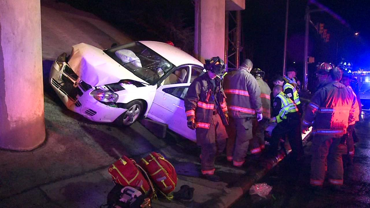 Woman injured after crashing car into Durham overpass bridge