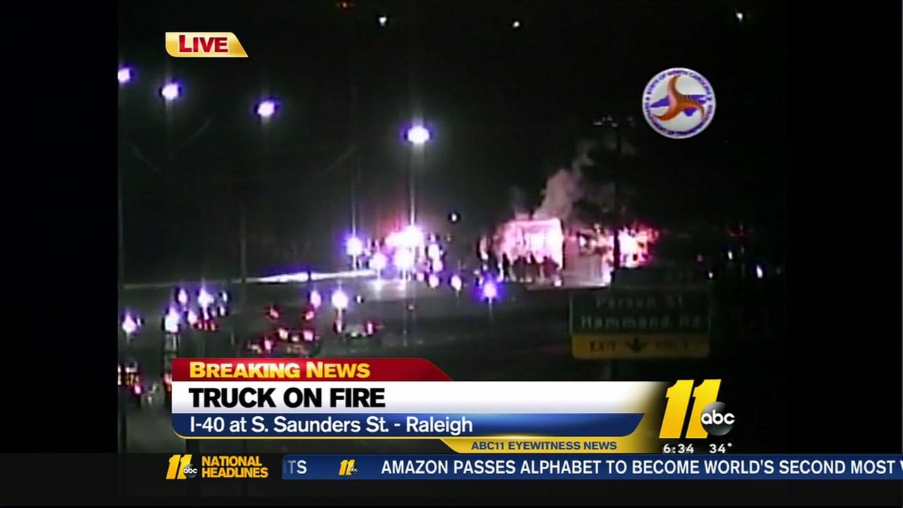 Tractor-trailer catches fire, causes delays on I-40 W in Raleigh
