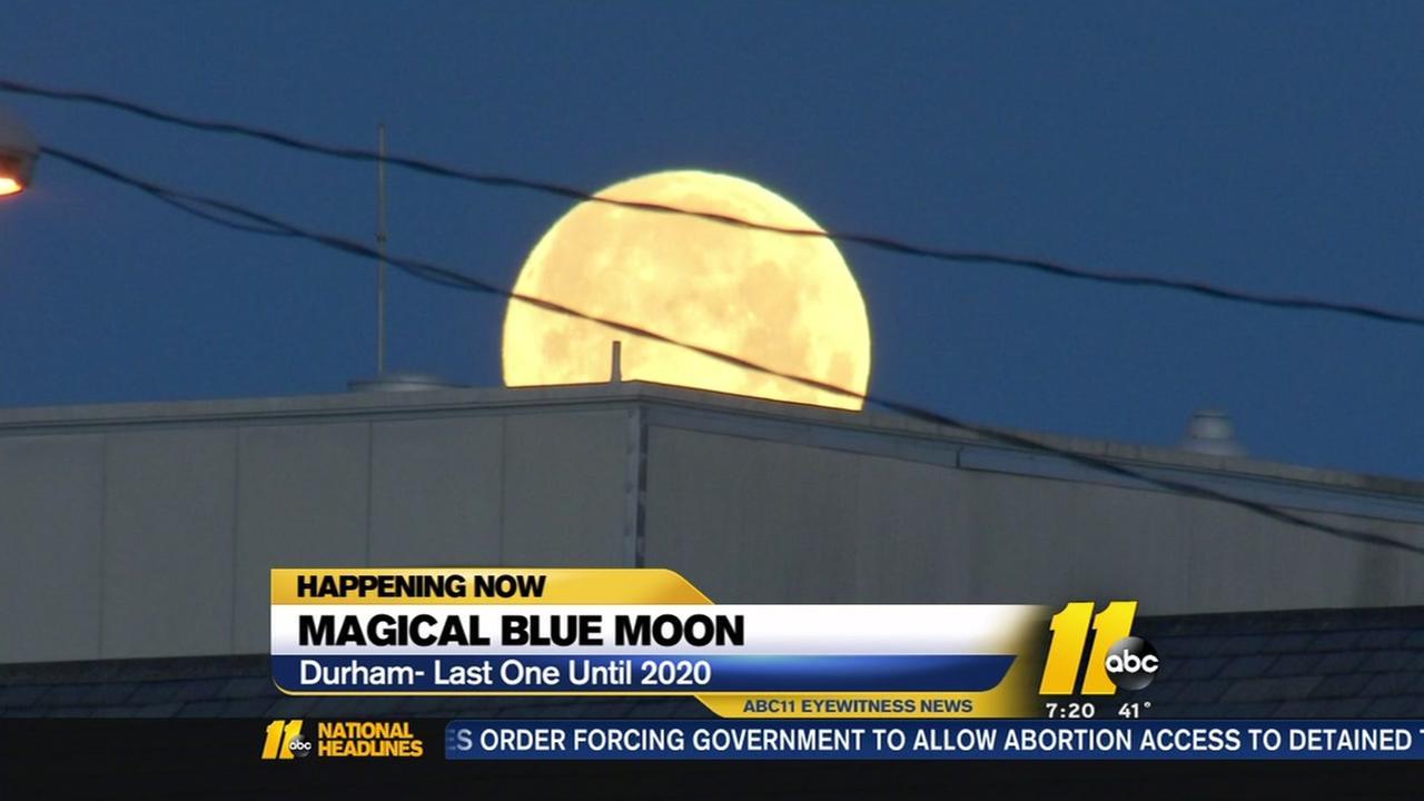 Last blue moon until 2020 lights up Durham sky