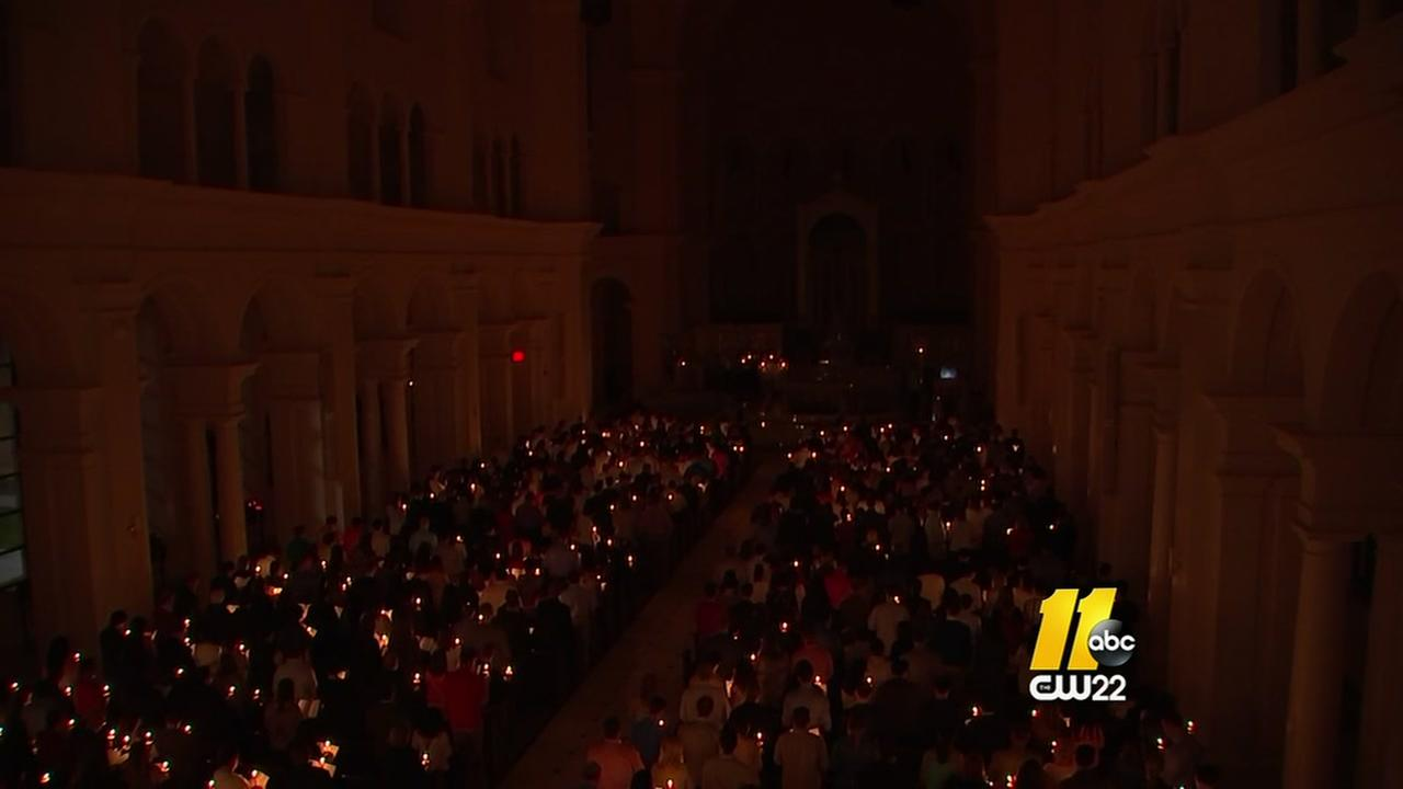 Huge turnout for Easter Vigil Mass