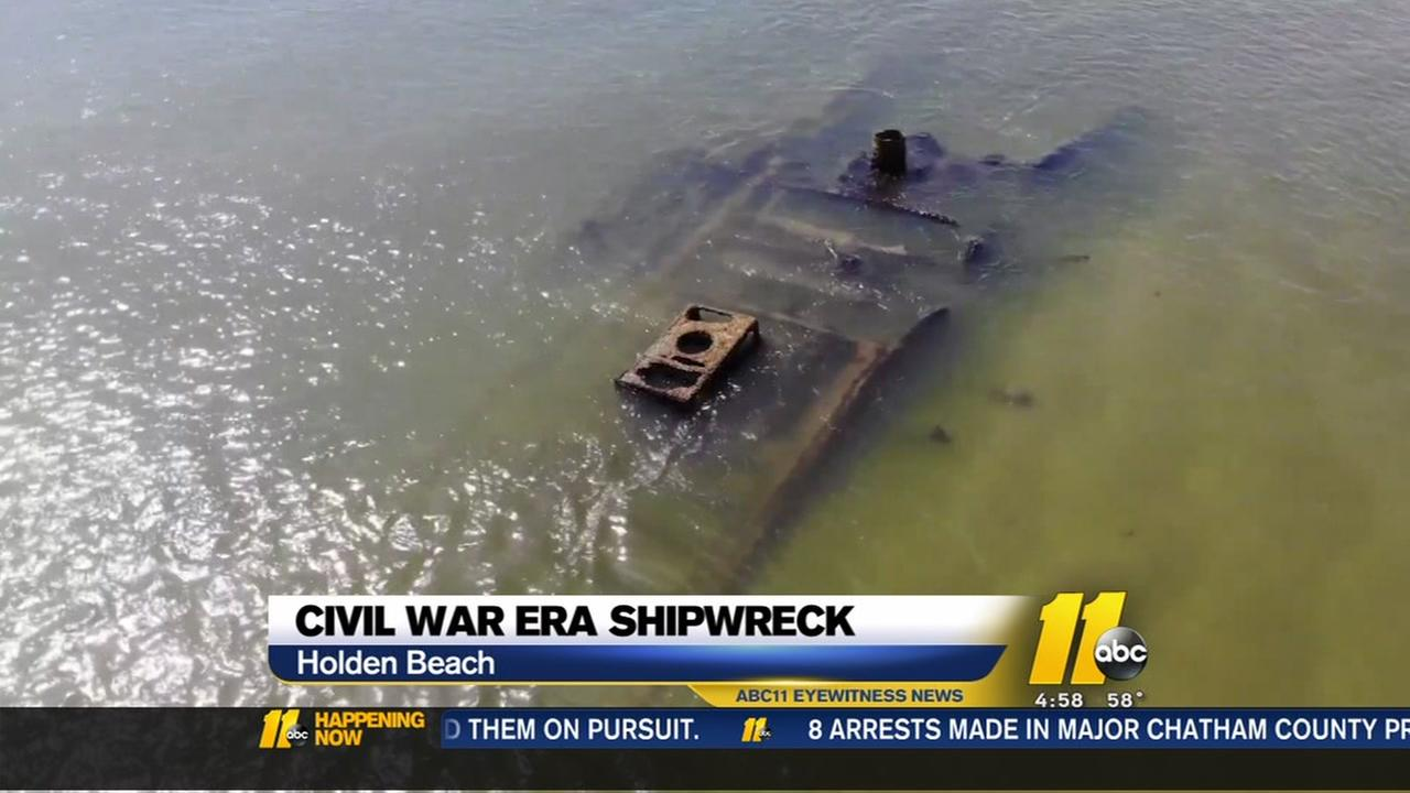 Drone video captures Civil War-era shipwreck off Holden Beach
