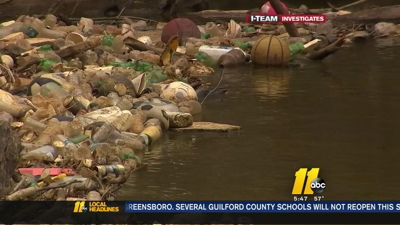 Trash buildup mars Nuese River