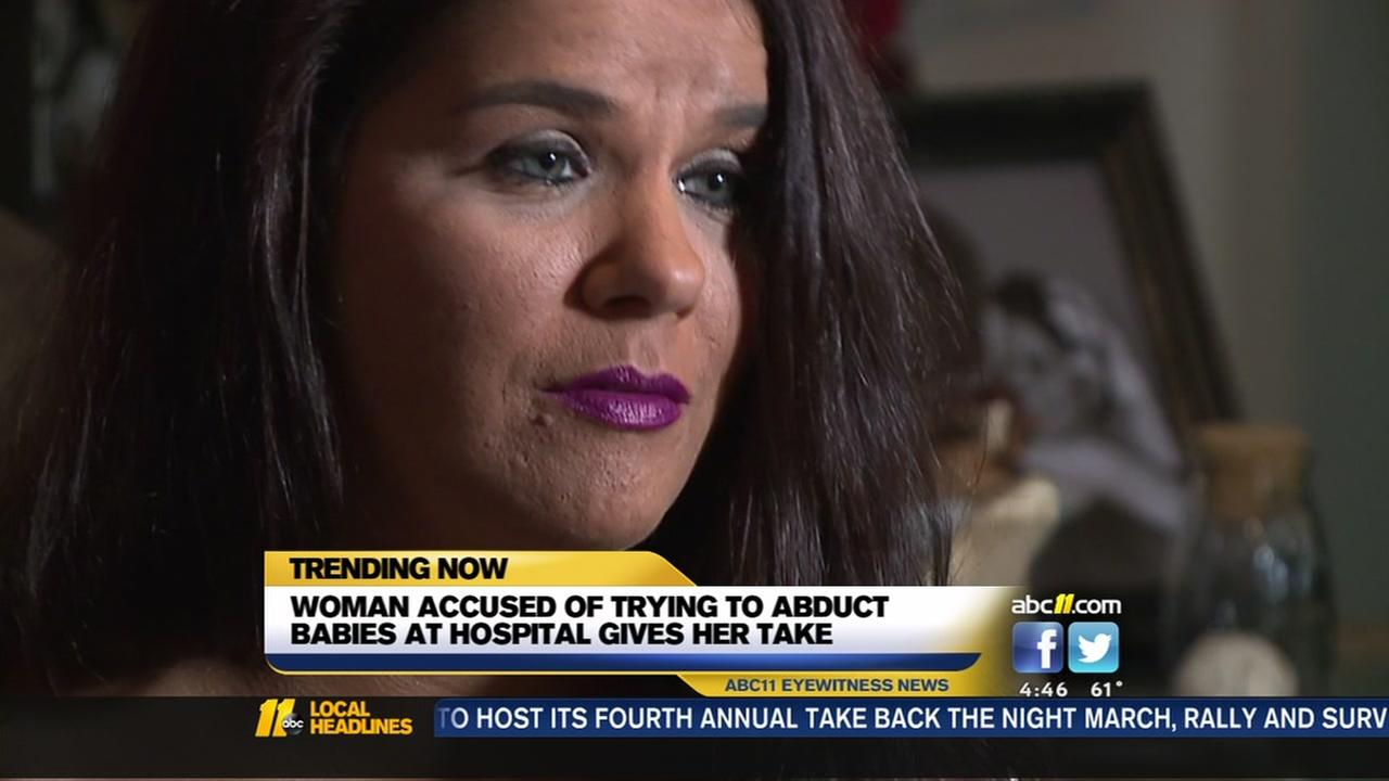 Woman accused of trying to abduct babies from hospitals speaks out