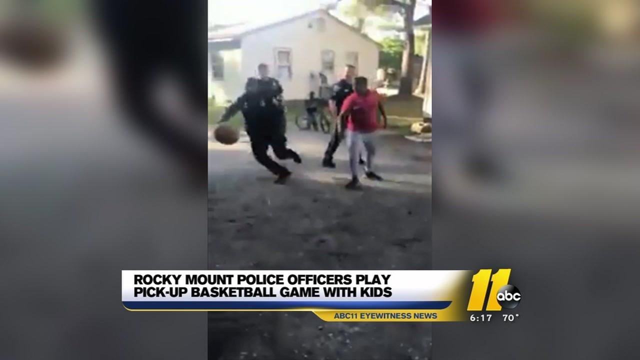 Rocky Mount officers play pickup ball with kids