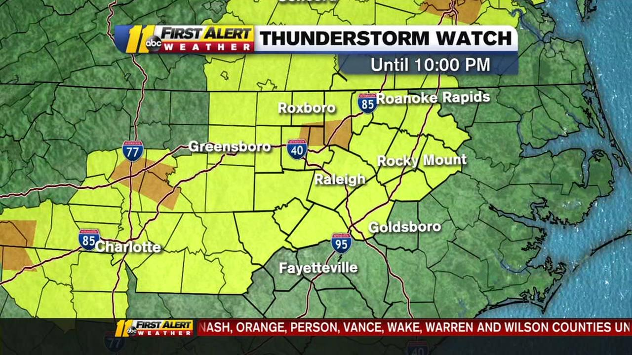 Severe thunderstorm watch until 10:00pm Thursday