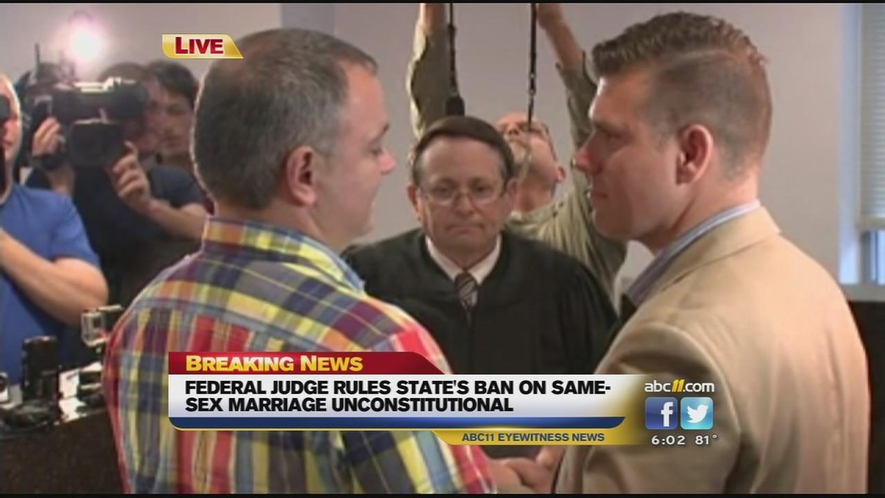 The first same-sex wedding in Wake County was carried live on local TV