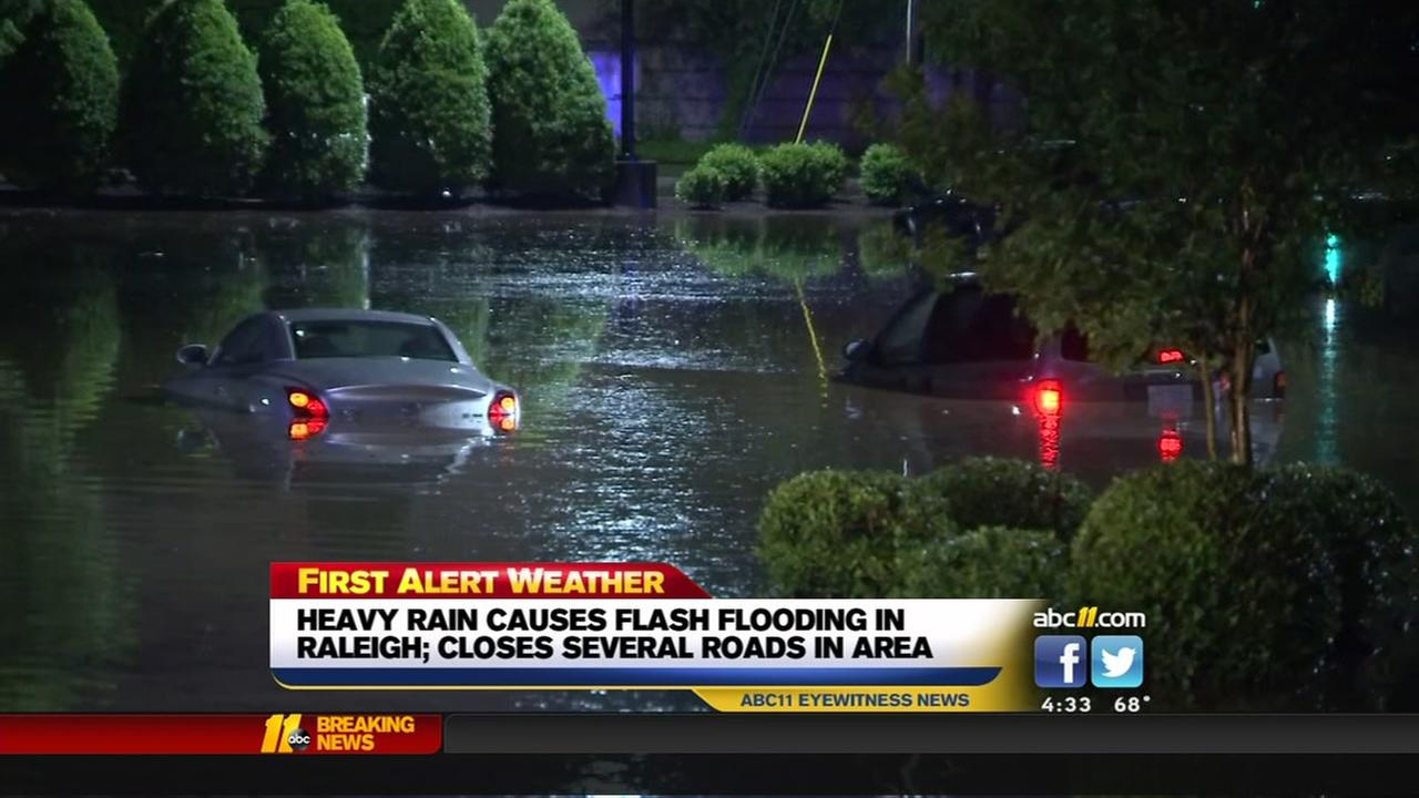 Flash flooding causes road closures across Raleigh