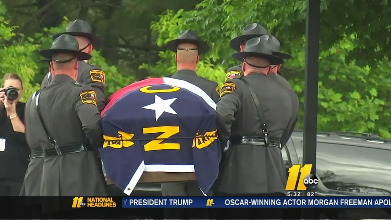Law enforcement pay final respects to NC Highway Patrol Trooper killed in pursuit, crash