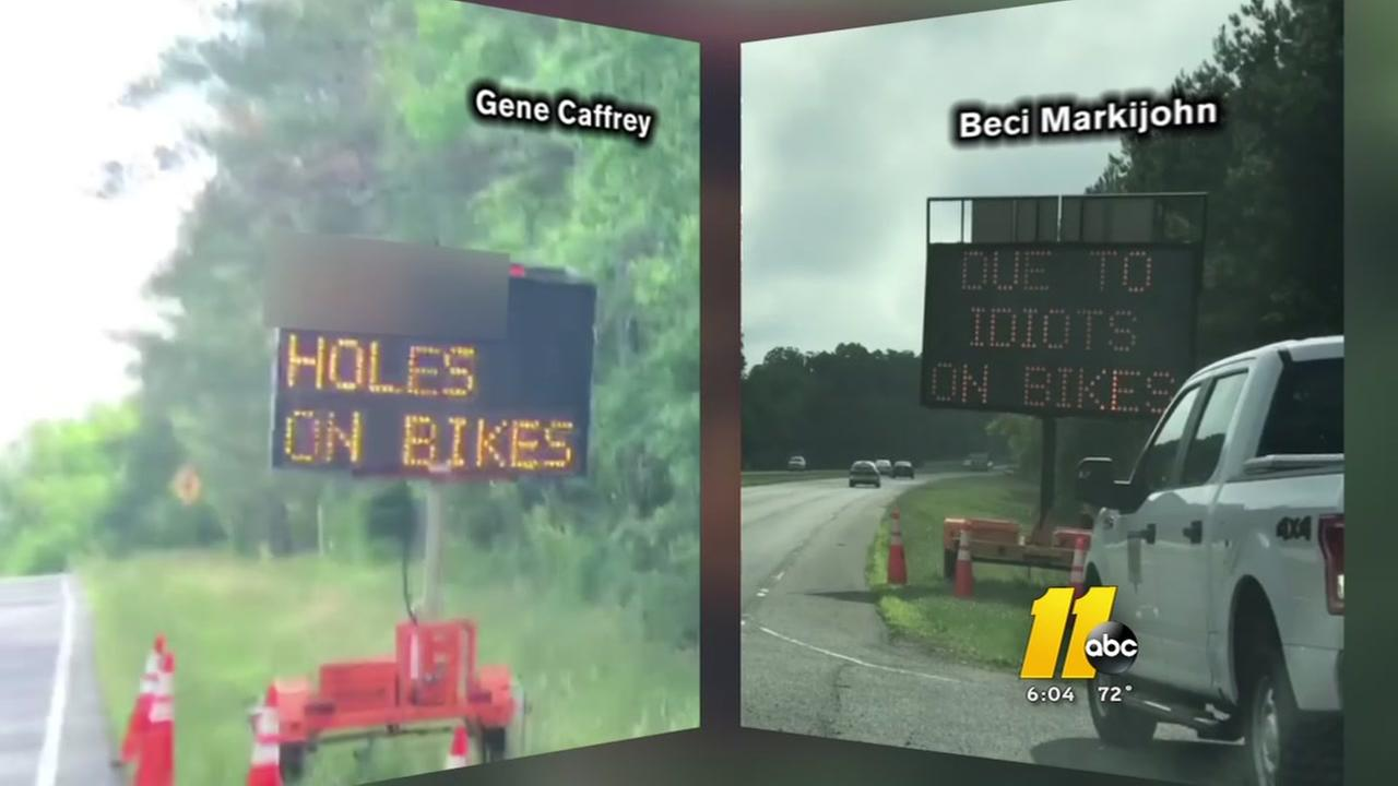 Hacked signs hack off bicyclists