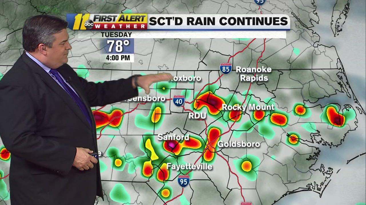 Triangle showers continue, flash flood threats across the state