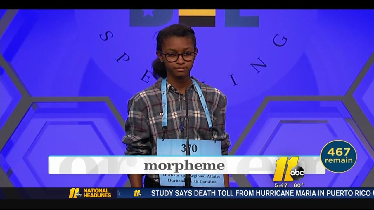 Hanna Closs from Durham competes in Scripps National Spelling Bee