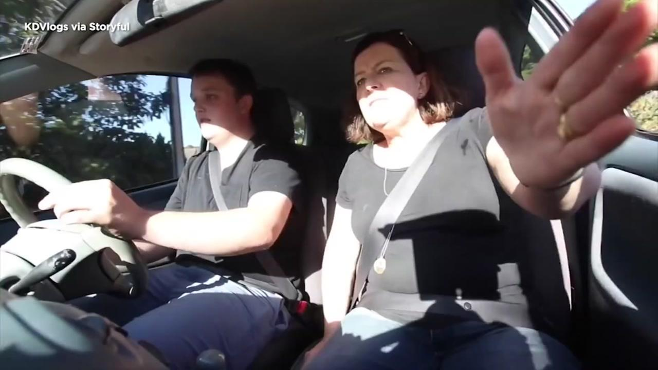 TOO REAL: Parents freak out while teaching son to drive