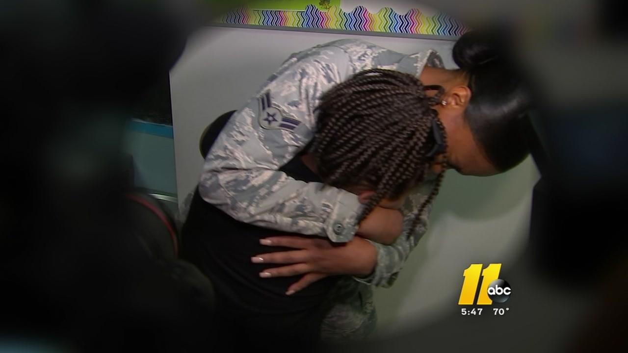 REUNITED: Wake County woman surprises sister at school after returning from Air Force