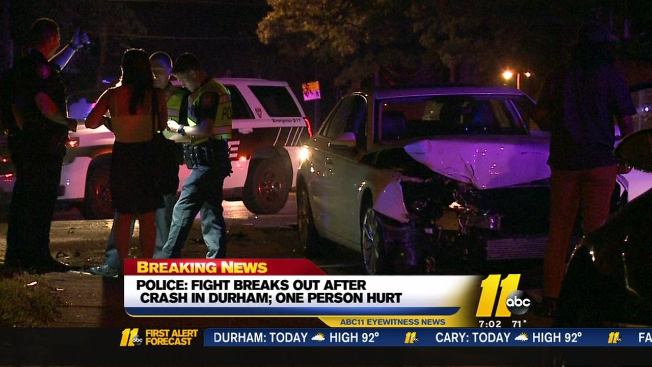 Fight breaks out after crash in Durham
