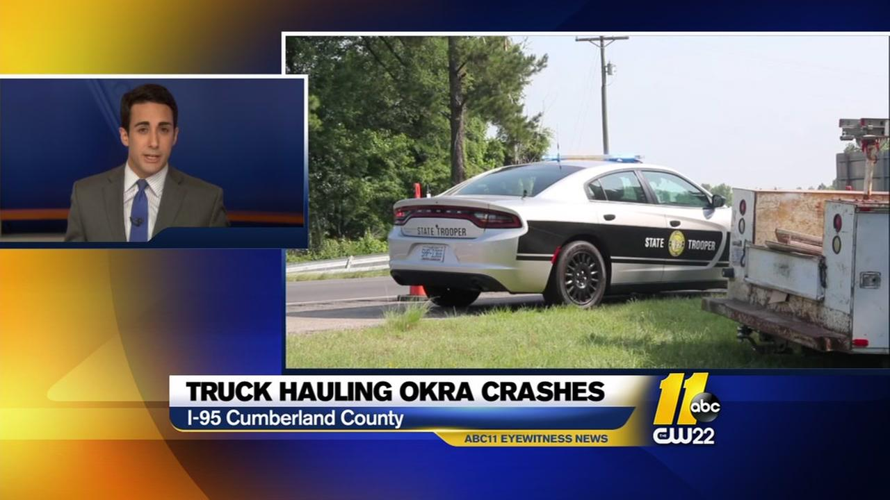 Tractor trailer overturns and scatters okra on Interstate 95 in Cumberland County