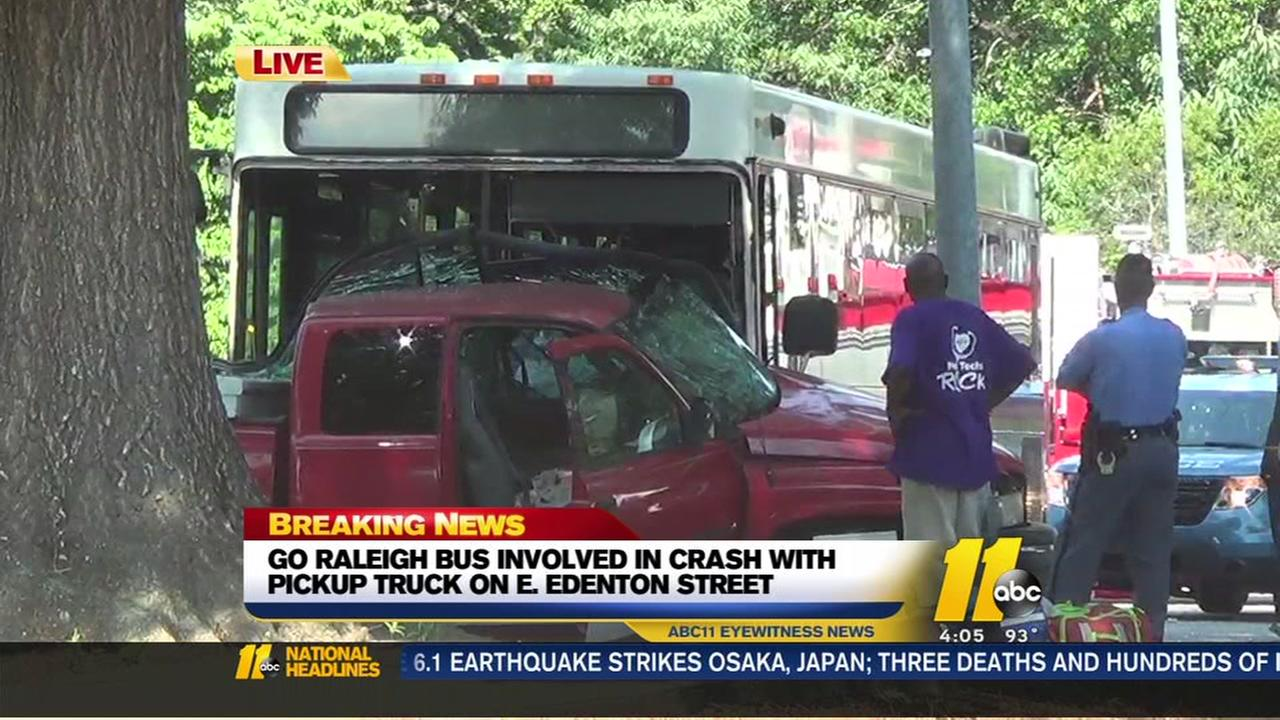 Bus, truck involved in Raleigh crash