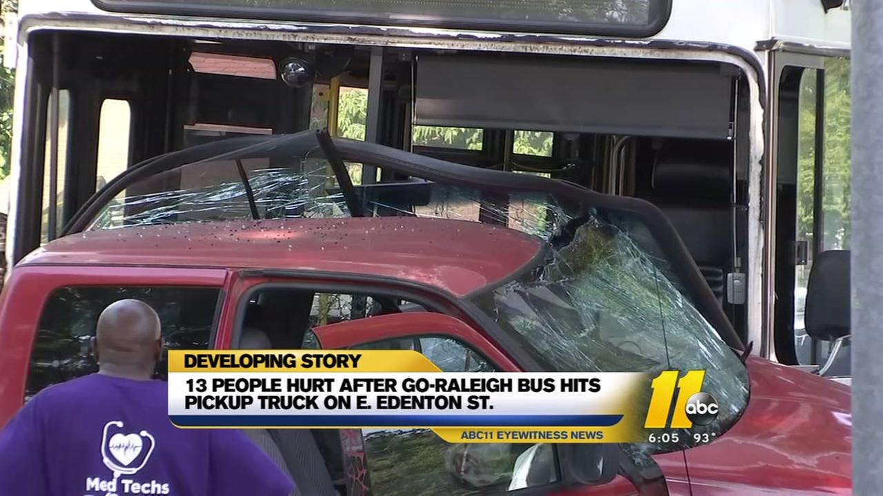 Thirteen hurt after Raleigh bus, truck crash