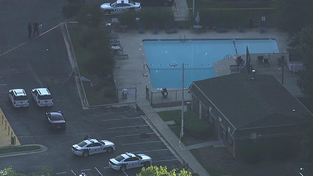Chopper11HD over apartment pool where 3 people drowned