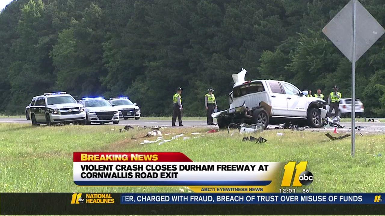Serious wreck closes Durham Freeway S near Cornwallis exit