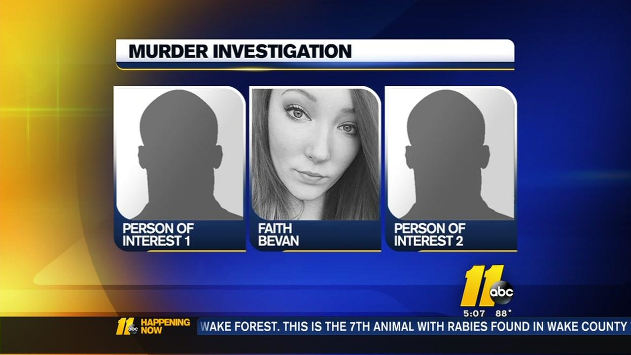 Authorities searching for 2 persons of interest in the death of Faith Bevan