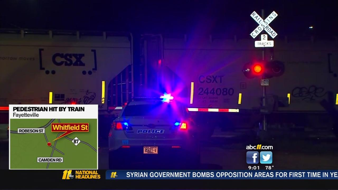 Pedestrian struck by train in Fayetteville