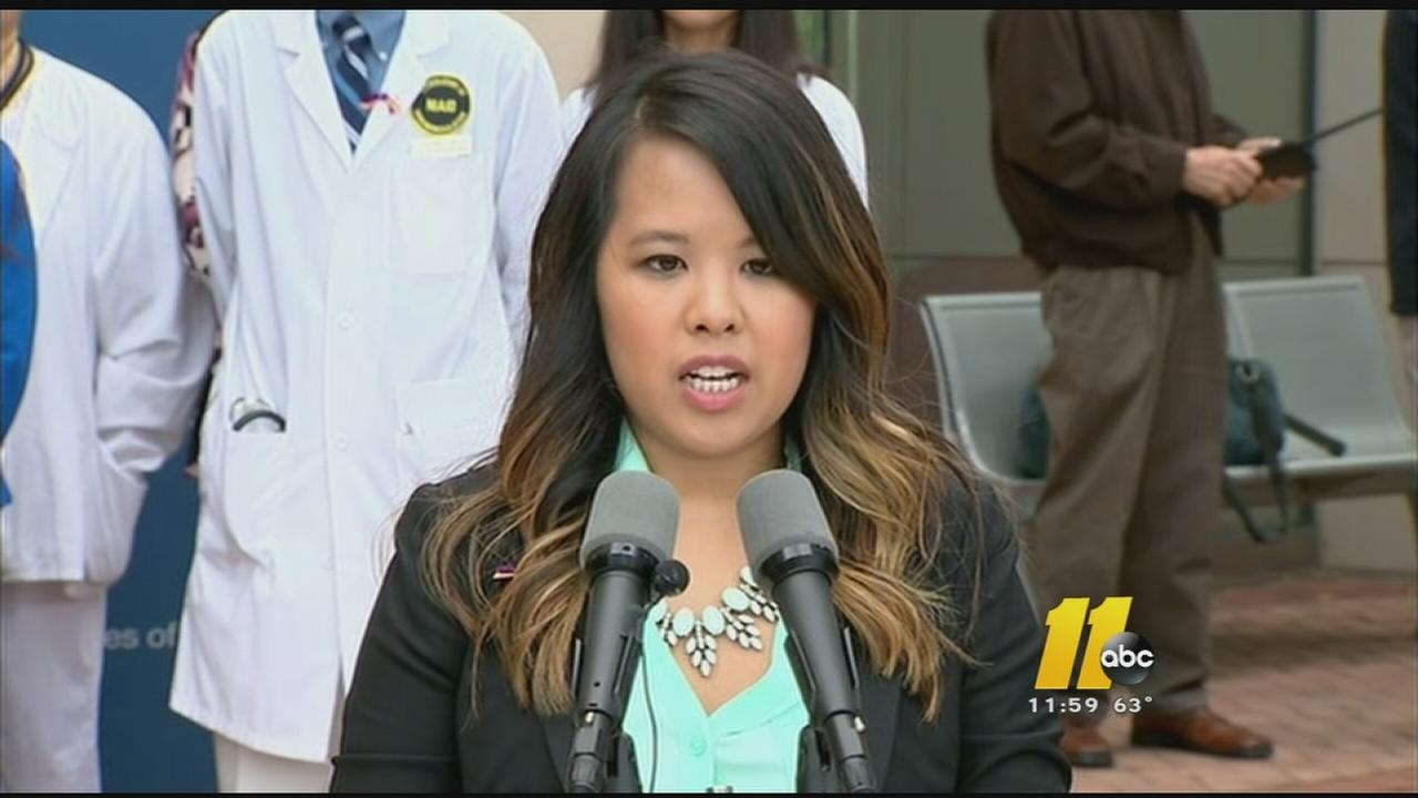 Nina Pham speaks to reporters after her release from the hospital.