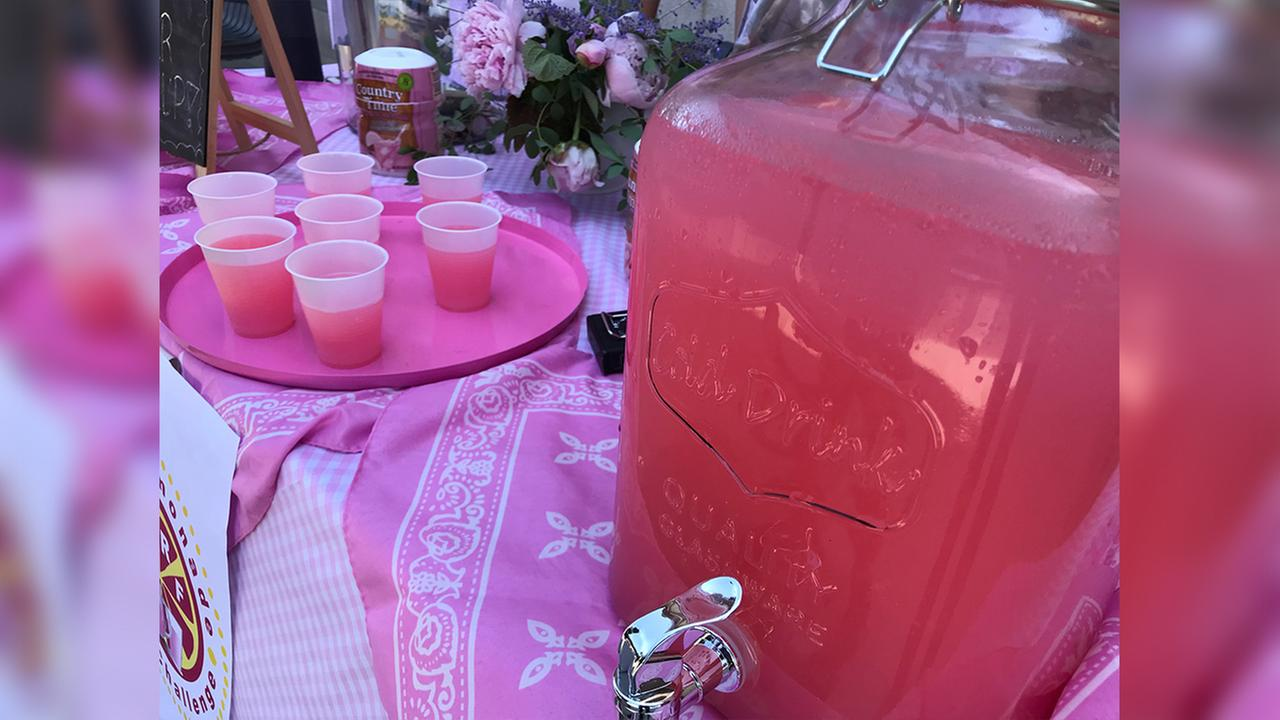 The Pink Lemonade Challenge for breast cancer awareness in Cary.