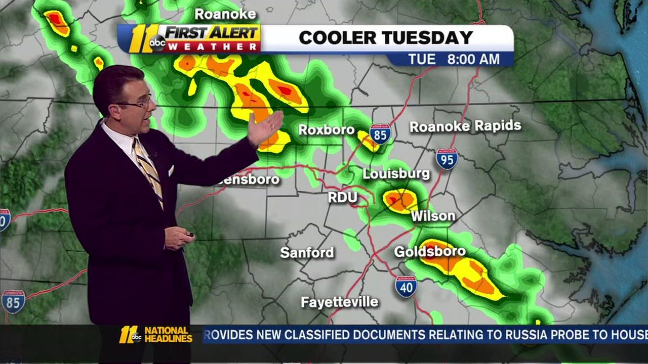 Rain showers push into the Triangle