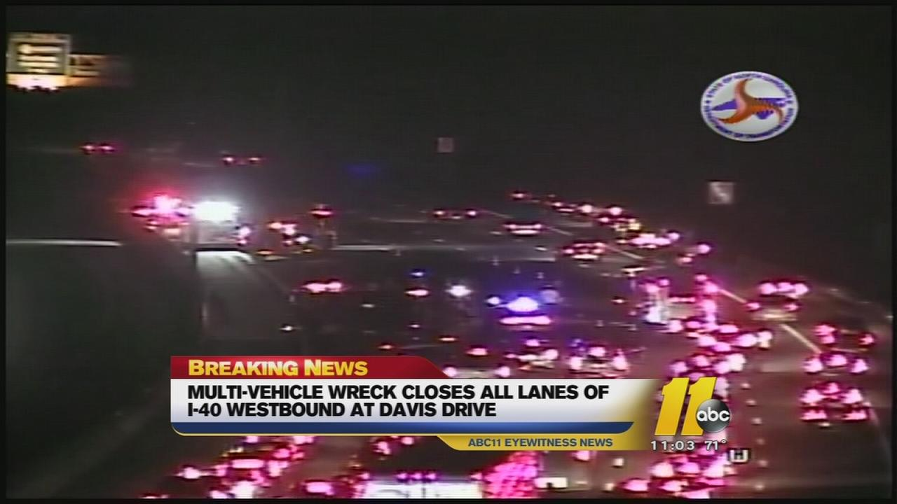 Multi-vehicle wreck closes all lanes of I-40 west at Davis Drive