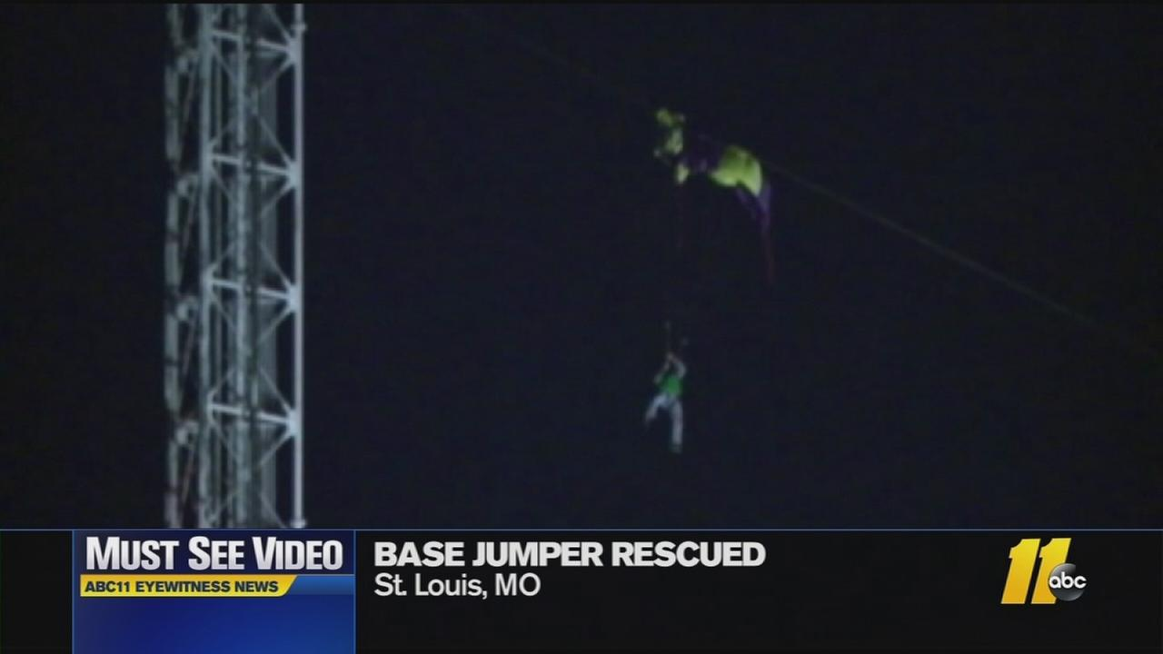The base jumper got caught on a guy wire