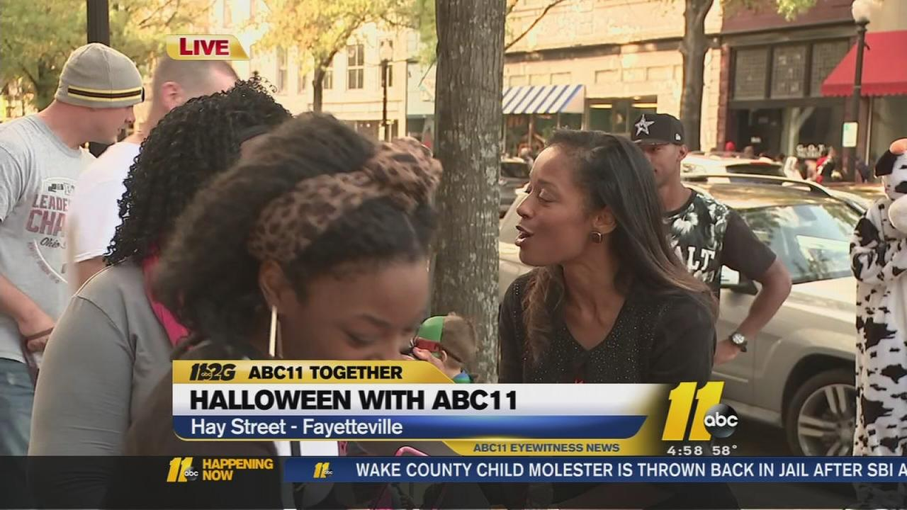 Trick-or-treaters lined up in front of the ABC11 newsroom on Hay Street in Fayetteville.